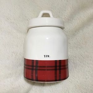 Rae Dunn Red Buffalo Check Plaid Flannel Canister